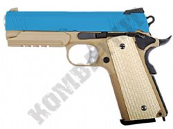 WE E011-T Desert Warrior 4.3 Pistol Airsoft Gas Blowback 1911 BB Gun 2 Tone Blue Tan Metal